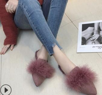 instylestreet.com Sandals cameo / 35 Pointy Fur Slipper