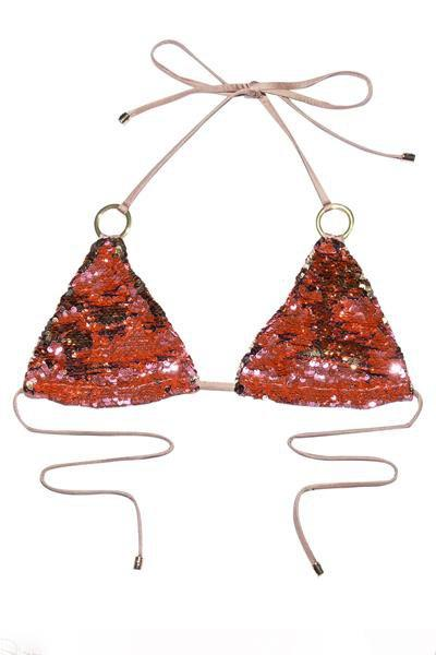 instylestreet.com Swimwear Crystal Powder / S Sequined Halter Triangle Bikini Set