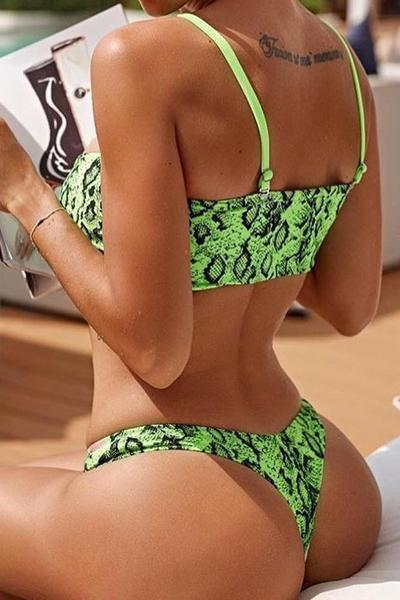 instylestreet.com Swimwear Green / S Sexy Split Print Wrapped Chest Bikini