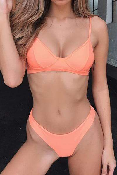 instylestreet.com Swimwear Orange / S Solid Color Split Silhouette Swimsuit