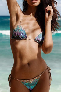 instylestreet.com Swimwear Rainbow / S Rainbow Sequined Triangle Bikini Set