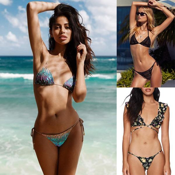 instylestreet.com Swimwear Rainbow Sequined+Lace-up Hollow+Ruffled Printed / S Rainbow Sequined Triangle Bikini Set