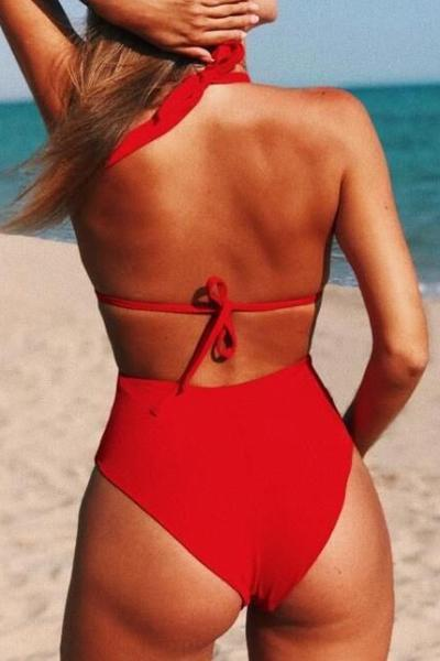 instylestreet.com Swimwear Red / S Mesh Swimwear Perspective Stitching Ladies One-piece Swimsuit