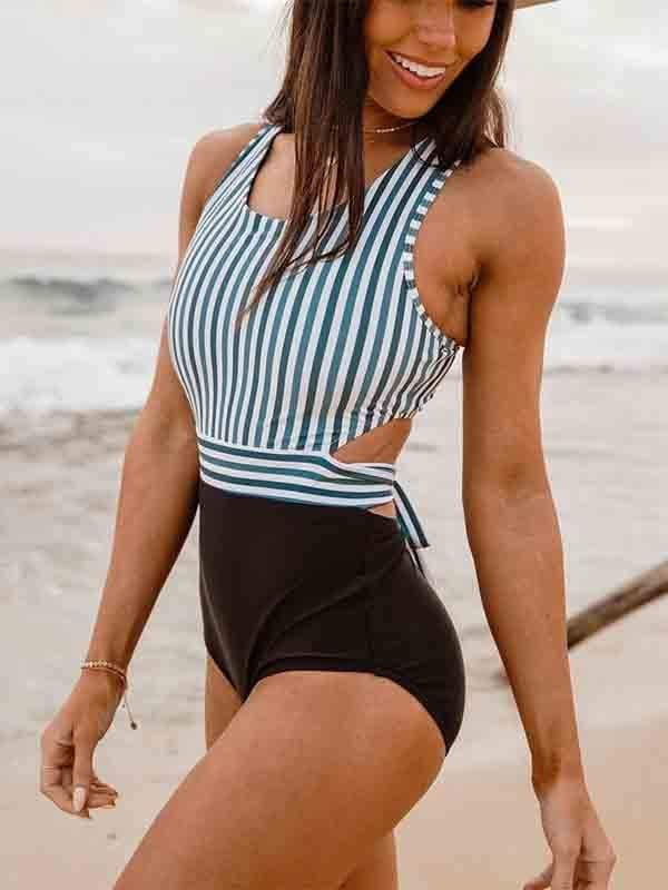 instylestreet.com Swimwear Stripe + black / S Leaf print color matching high waist one-piece swimsuit