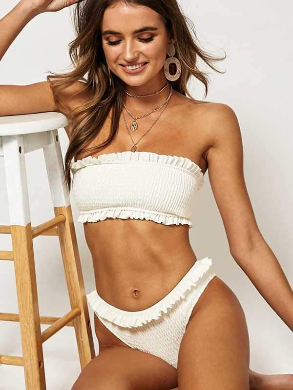 instylestreet.com Swimwear White / S Pleated pleated printed polka dot tube top bikini