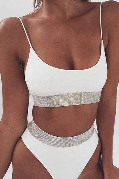 instylestreet.com Swimwear White / S Sequined Solid Color Split Swimsuit