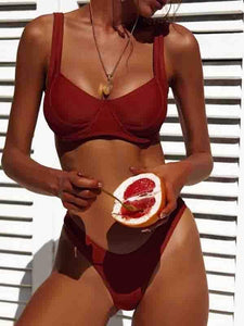 instylestreet.com Swimwear Wine Red / S Summer Plain Beach Bikini