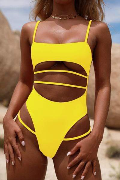 instylestreet.com Swimwear Yellow / S Siamese Swimsuit