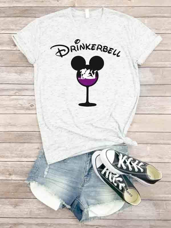 instylestreet.com T-shirts light grey / S DrinkerBell Wine Letter T-Shirt