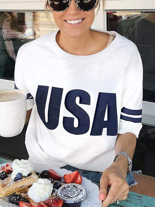 instylestreet.com T-shirts White / S High-quality USA Splice Graphic T-shirts