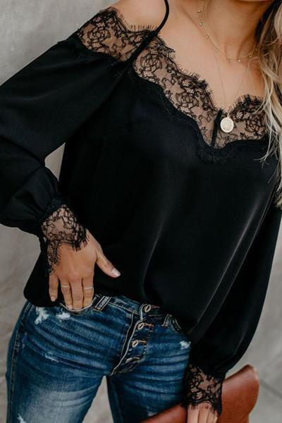 instylestreet.com Tops Black / S Simple Sexy Lace Stitching Strap Shirt