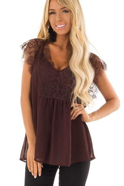 instylestreet.com Tops Burgundy / S Deep V Neck Patchwork Lace Plain T-Shirts