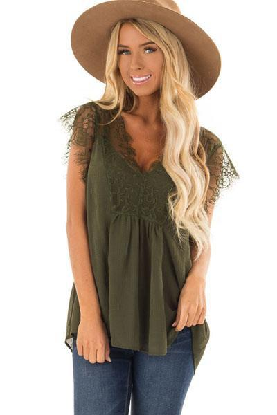 instylestreet.com Tops Green / S Deep V Neck Patchwork Lace Plain T-Shirts