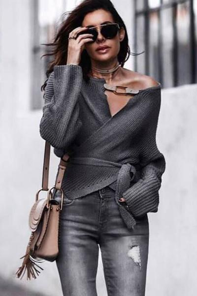 instylestreet.com Tops Grey / One Size Grey Cross Strap V-neck Sweater