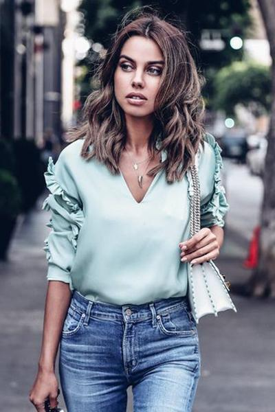 instylestreet.com Tops Mint / S Mint Ruffled V-neck Blouse