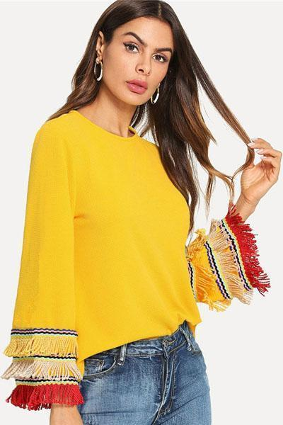 instylestreet.com Tops S Tassel Wild Color Long Sleeves Tops