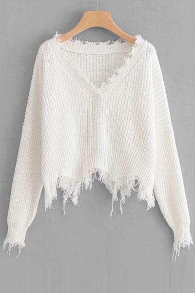 instylestreet.com Tops White Frayed Trim Drop Shoulder Jumper