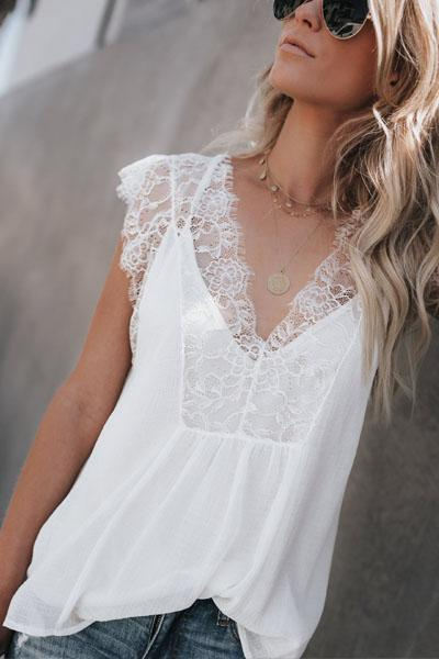 instylestreet.com Tops White / S Deep V Neck Patchwork Lace Plain T-Shirts