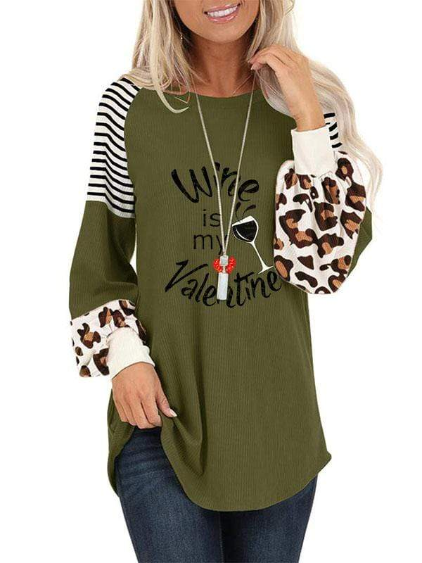 instylestreet S / Army green Women's Wine Is My Valentine Print Top