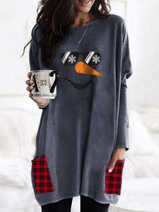 instylestreet S / Blue gray Snowman Face Sunglasses Plaid Stitching Shirt