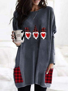 instylestreet S / Blue gray Three Gnomes Holding Hearts Buffalo Plaid Shirt