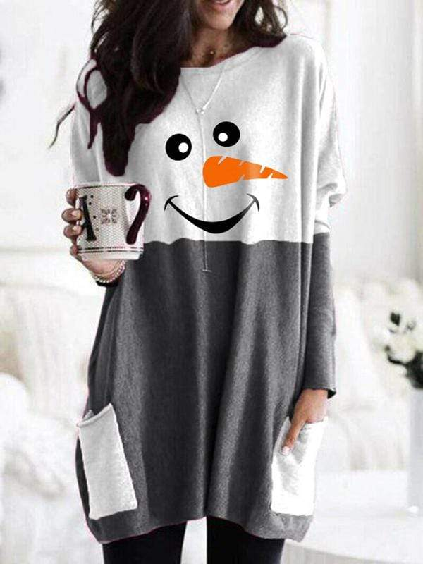 instylestreet S / Dark grey Cozy Christmas Snowman Face Long Shirt