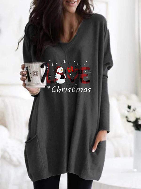 instylestreet S / Dark grey Love Christmas Snowman Cozy Plaid Shirt