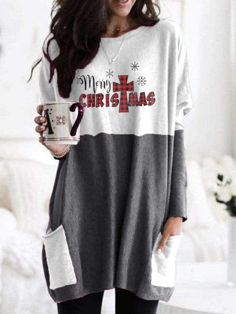 instylestreet S / Dark grey Women's Merry Christmas Long Shirt