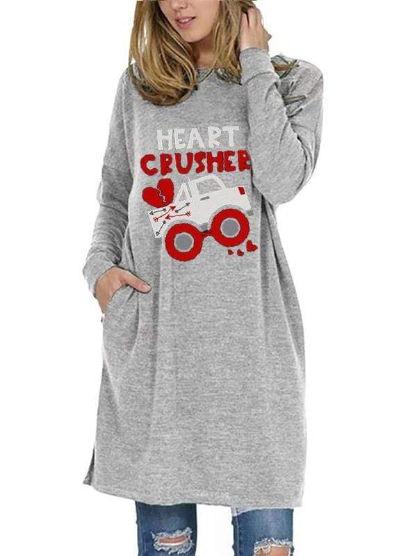 instylestreet S / Gray Women's Valentine Heart Crusher Casual Top