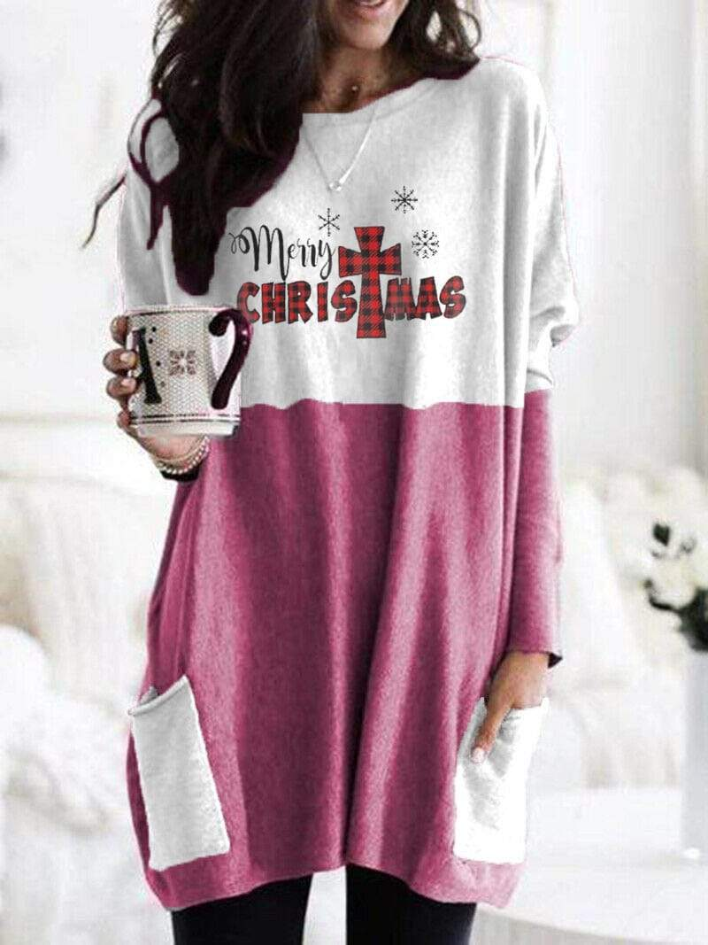 instylestreet S / Pink Women's Merry Christmas Long Shirt