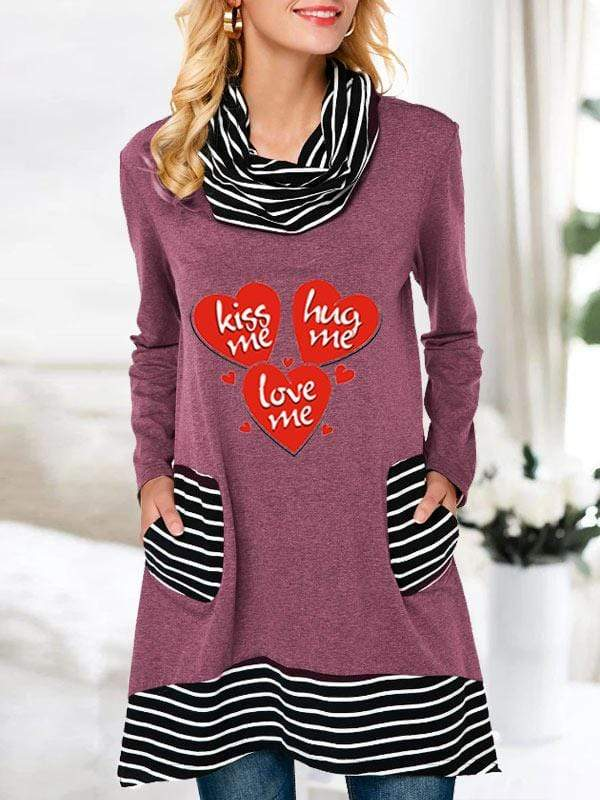 instylestreet S / Red Women's Kiss me Hug me Love me Printed Stacked Collar Striped Pocket Long Sleeve Top