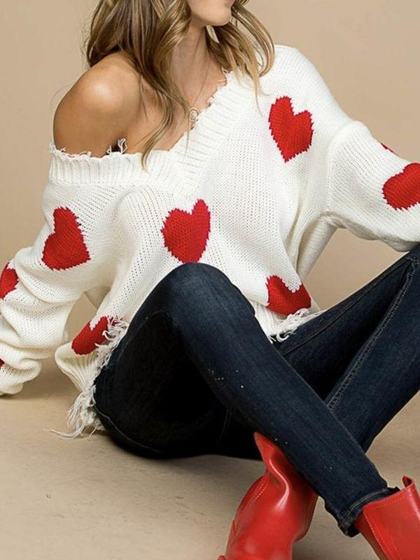 instylestreet S / White Heart On My Sleeve Blend Sweater