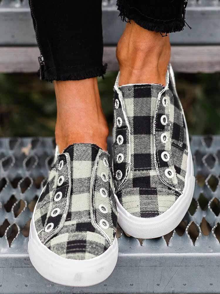 instylestreet US5.5 / Black Plaid Slip-On Round Toe Flat Sneakers