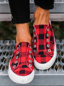 instylestreet US5.5 / Red Plaid Slip-On Round Toe Flat Sneakers