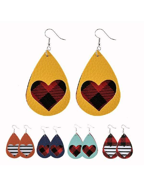 instylestreet Valentine's Day Red Plaid Water Drop Hollow Heart Earrings