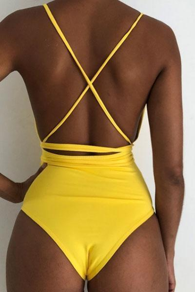 Lezeda.com Swimwear Yellow / S Solid Lace Up Backless Swimsuit