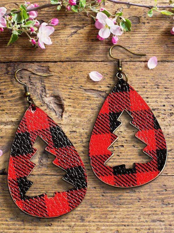 maochic.com Christmas One Size / Red Plaid Hollow Out Christmas Tree Leather Earrings
