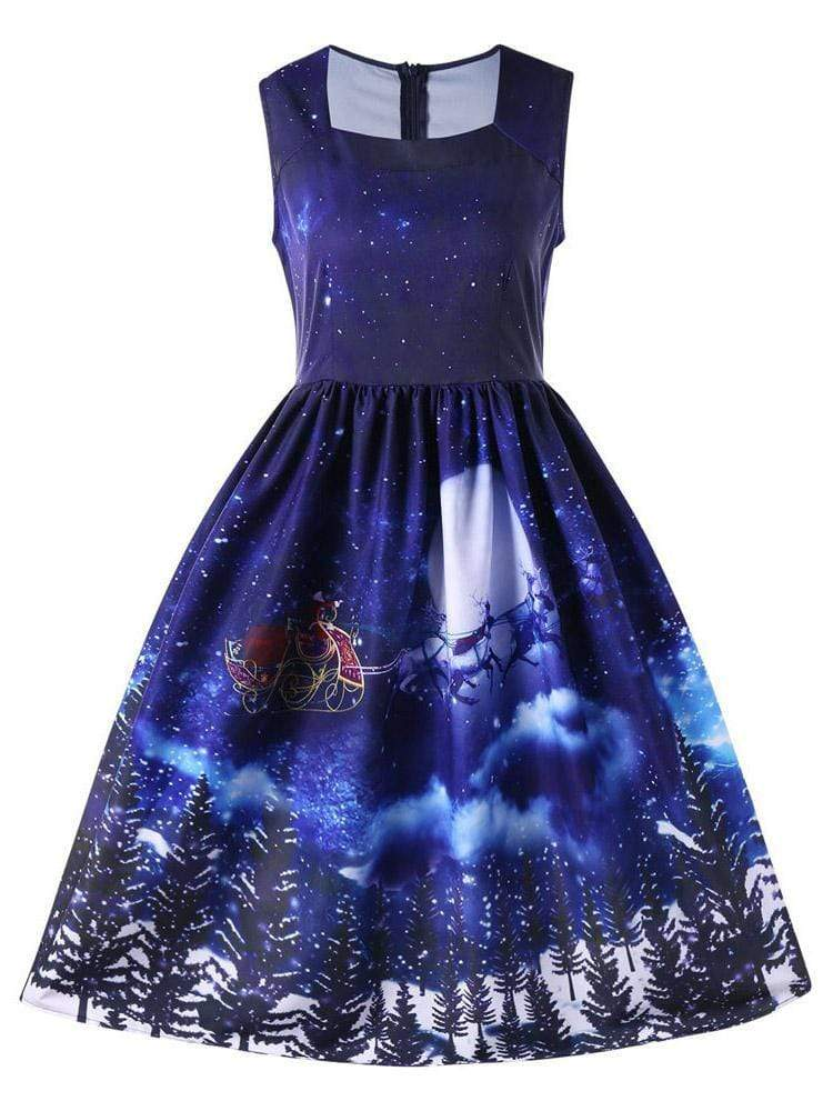 maochic.com MINI DRESSES S / Blue Women's Christmas Round Neck Sleeveless Print Color Matching Waist Party Dress
