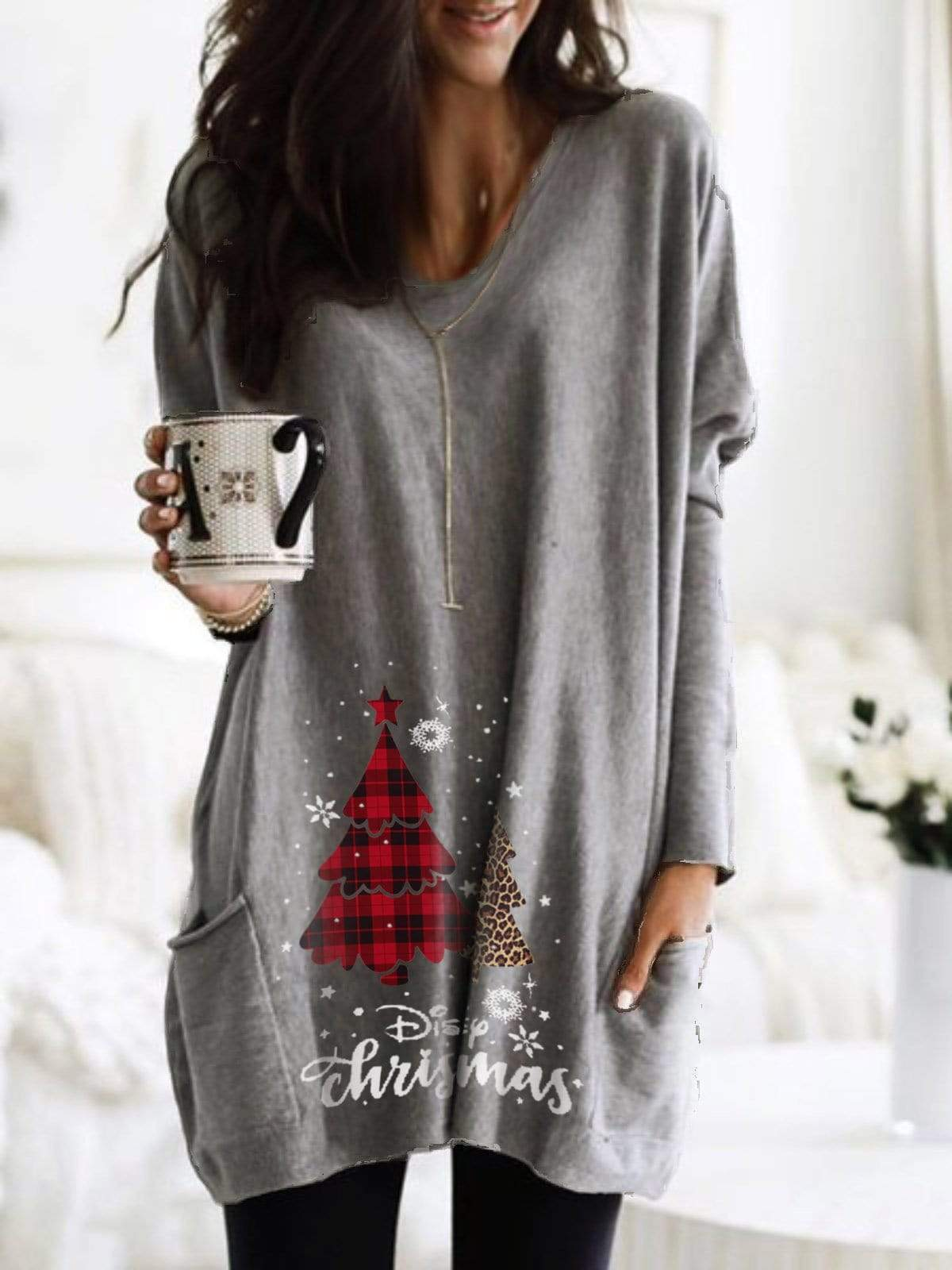 maochic.com MINI DRESSES S / Gray Women's Christmas Print Dress With Long Sleeves