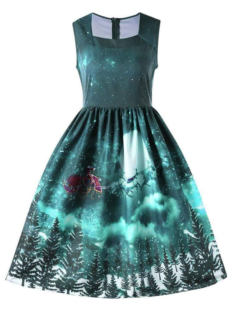 maochic.com MINI DRESSES S / Green Women's Christmas Round Neck Sleeveless Print Color Matching Waist Party Dress