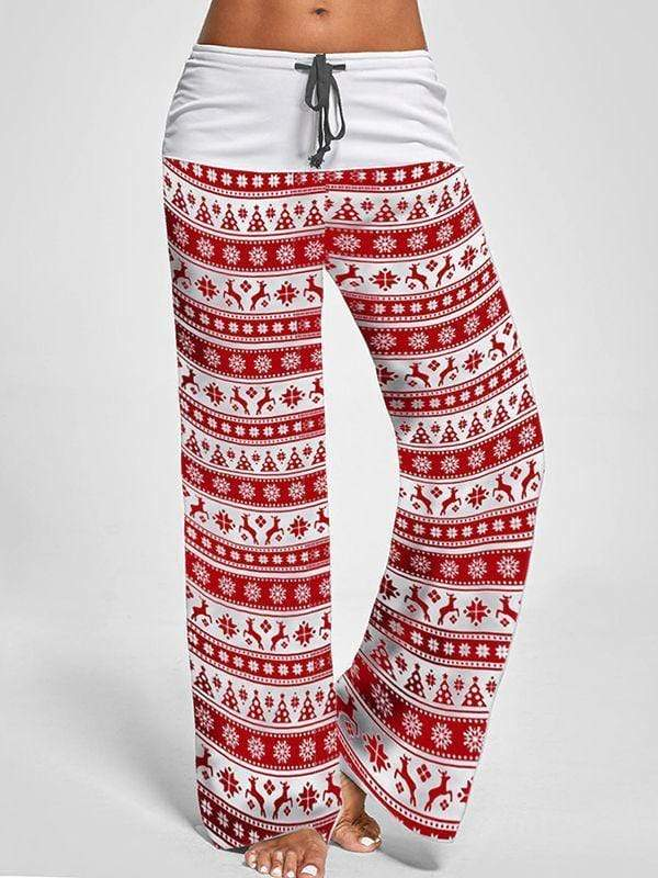 maochic.com Pants S / Red Christmas Elements Printed Drawstring Pants