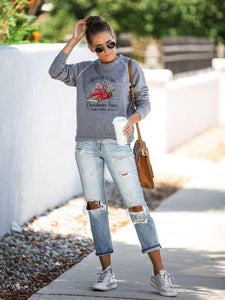 maochic.com T-SHIRTS S / Gray Women's Christmas Tree Print Sweatshirt