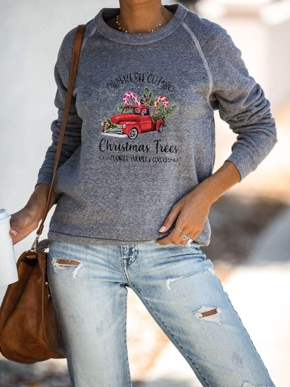 maochic.com T-SHIRTS Women's Christmas Tree Print Sweatshirt