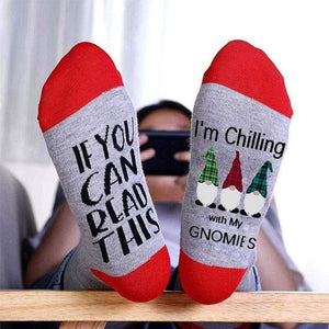 maochic Red Chilling With My Gnomies Christmas Cozy Socks
