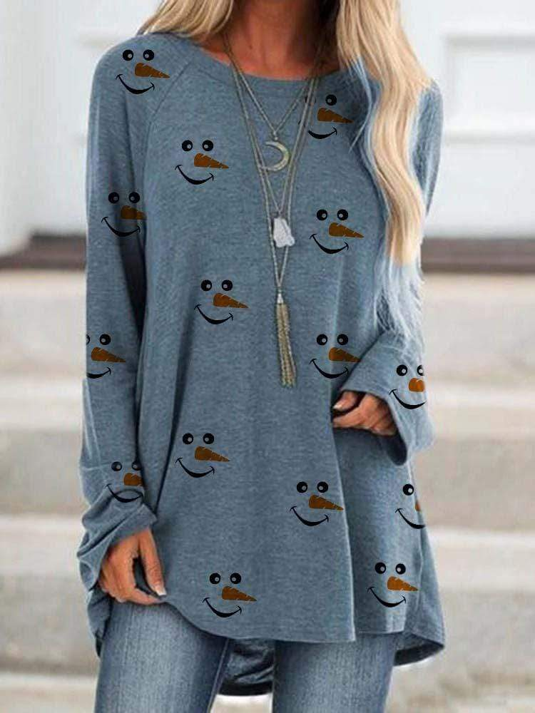 maochic S / Blue Christmas Long Sleeve Snowman Face Printed Shirt