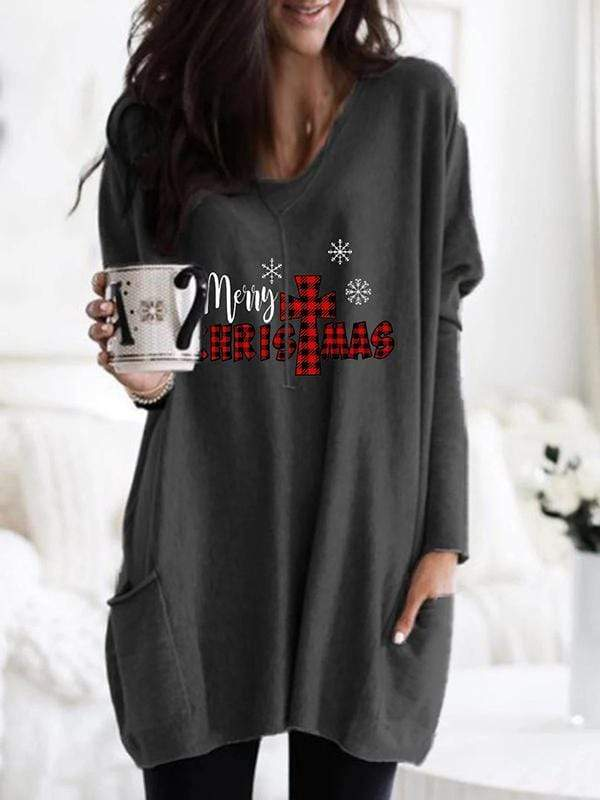 maochic S / Dark grey Buffalo Plaid Merry Christmas Long Sleeve Shirt