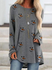 maochic S / Gray Christmas Long Sleeve Snowman Face Printed Shirt