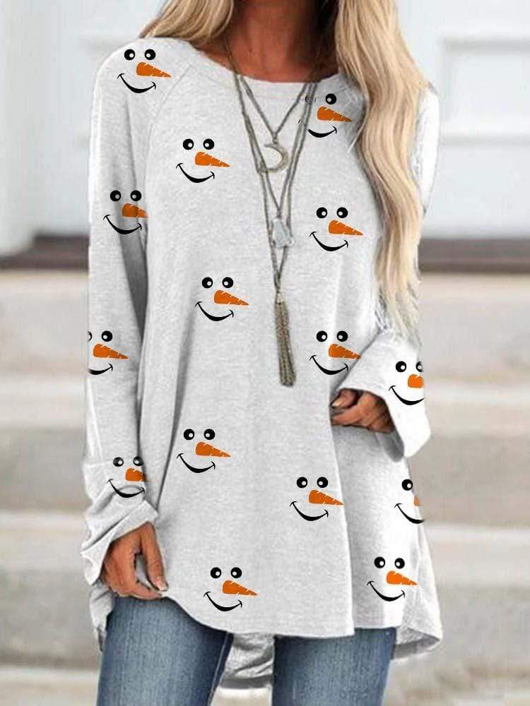 maochic S / White Christmas Long Sleeve Snowman Face Printed Shirt