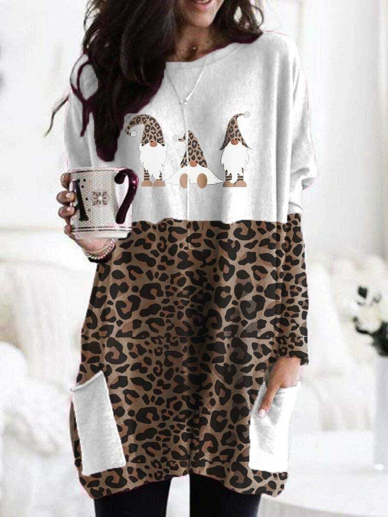 maochic S / Yellowish brown Christmas Gnomes Leopard Printed Cozy Shirt