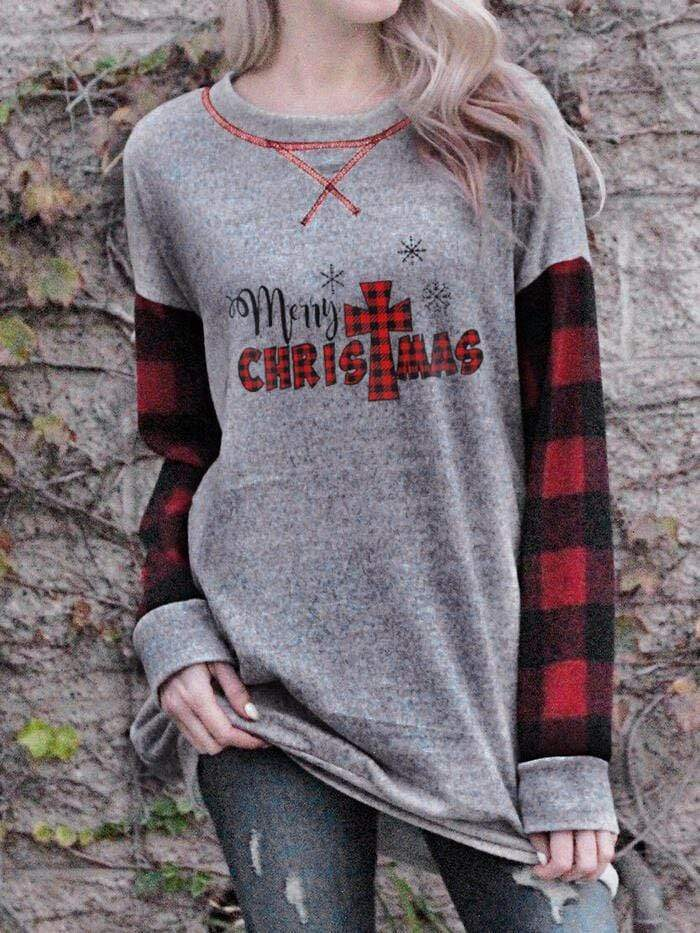 maochic T-SHIRTS S / Gray Women's Merry Christmas Print Top